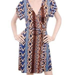 Tribal Tie Waist Wrap Jersey Dress